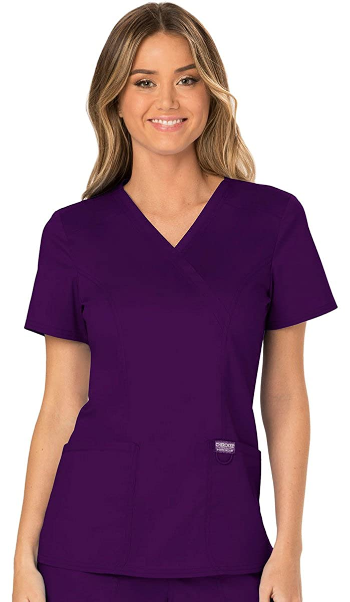 Eggplant WW Revolution by Cherokee WW610 Women's Mock Wrap Scrub Top
