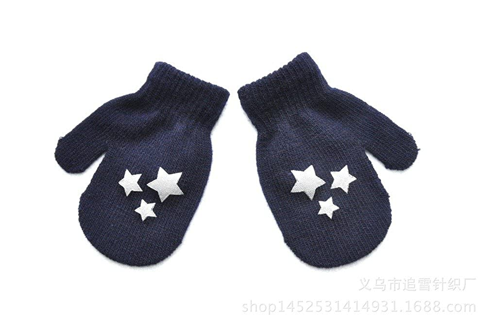 SAMGU Kids Dot Star Pattern Mittens Boys Girls Soft Knitting Warm Gloves