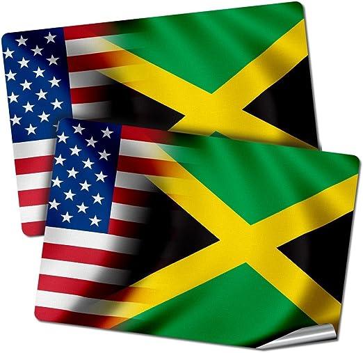 2 Jamaica Flag Decals Stickers