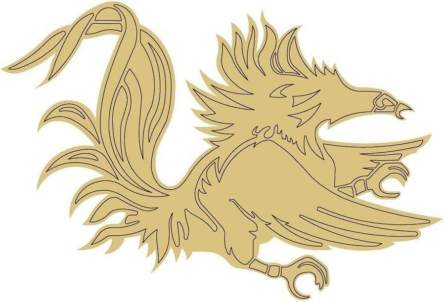 Gamecock Design by Lines Cutout Unfinished Wood Animal Decor Mascot Coloring Book Door Hanger Everyday MDF Shape Canvas Style 1 Art 1 (6