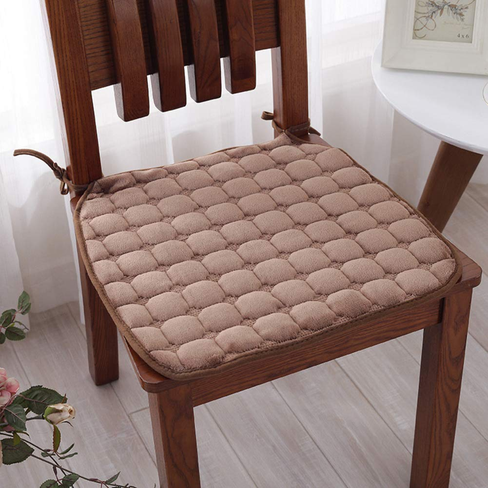 Lovehouse Kitchen Chair Pads with Ties Set of 6, Flannel Chair Cushion Plush Cushion Non Slip Seat pad for Kitchen,Dining,Home,Decor -Coffee 2020in
