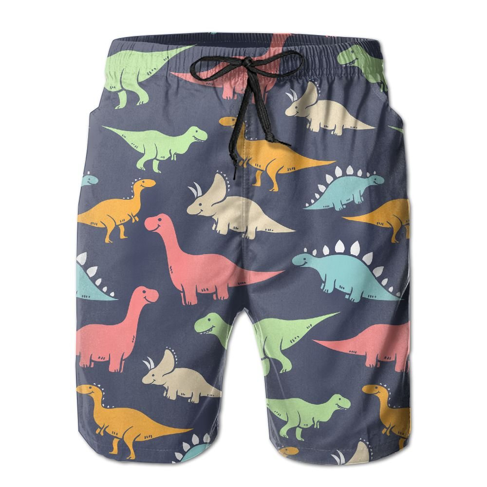 Tydo Dinosaur Animals Mens Beach Shorts Loose Surfing Trunks Surf Board Pants With Pockets For Men