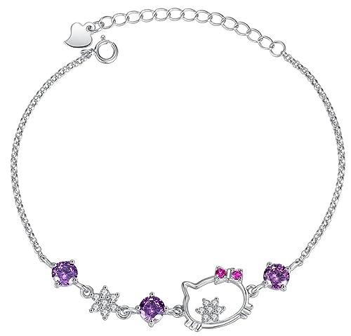 Forfamilyltd Plata de ley 925 Pulsera Gato Mujer Joyería con cristales Swarovski Amatista Púrpura: Amazon.es: Joyería