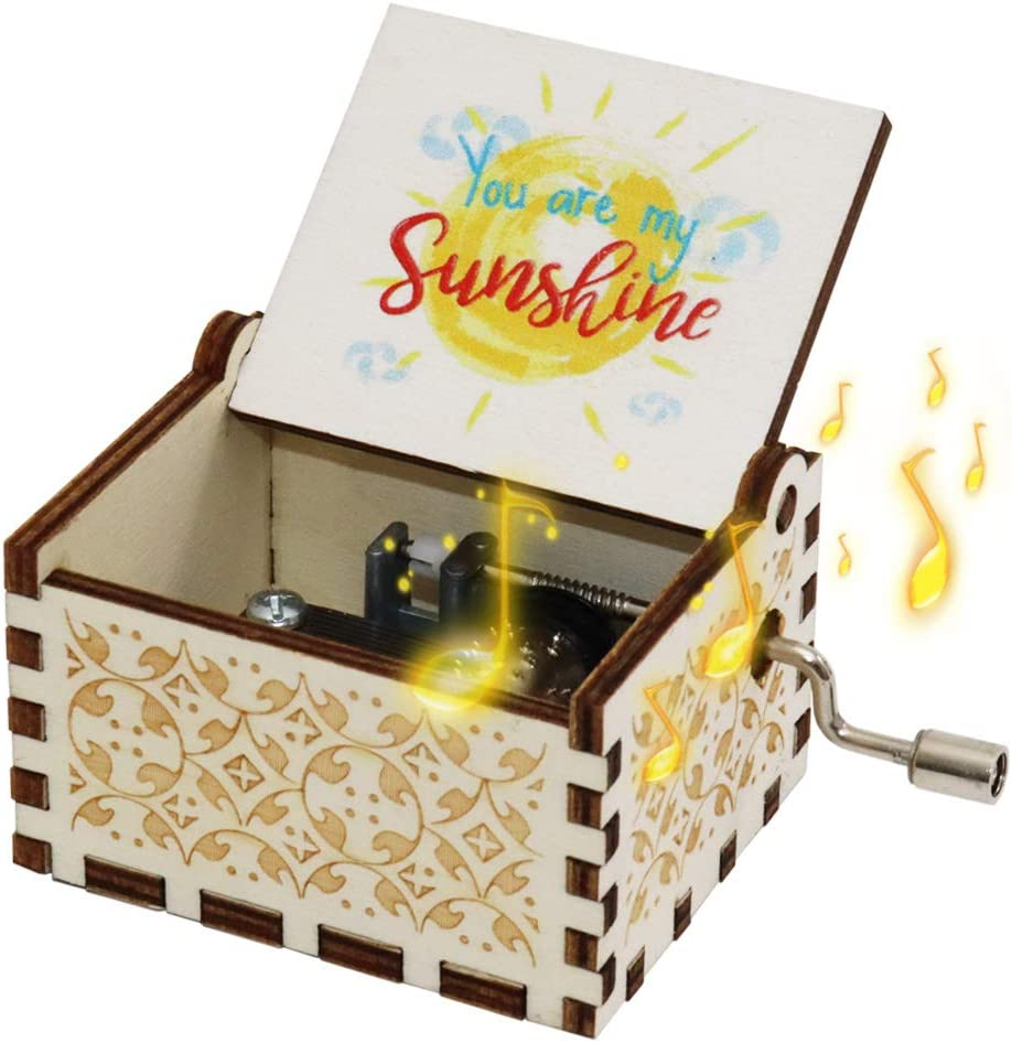fezlens Music Box Gift for Lover,You are My Sunshine Wood Music Box,Laser Engraved Vintage Cute Boxes.Birthday/Christmas/Valentine's Day
