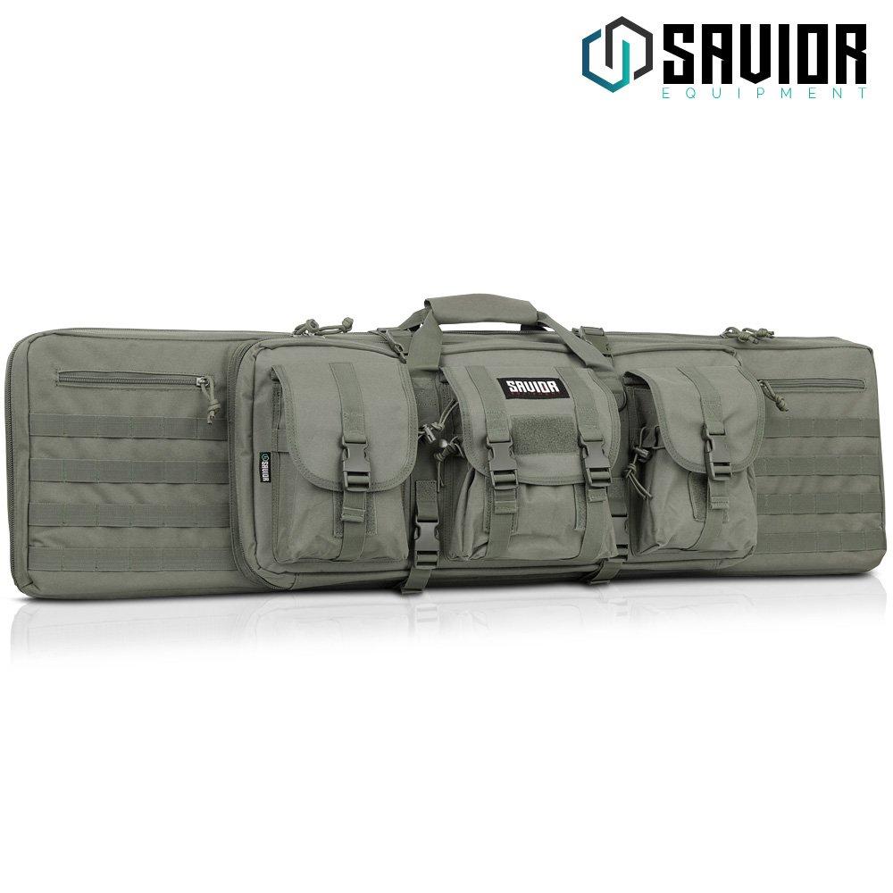 Savior Equipment American Classic Tactical Double Long Rifle Pistol Gun Bag Firearm Transportation Case w/Backpack - 46 Inch Ash Gray