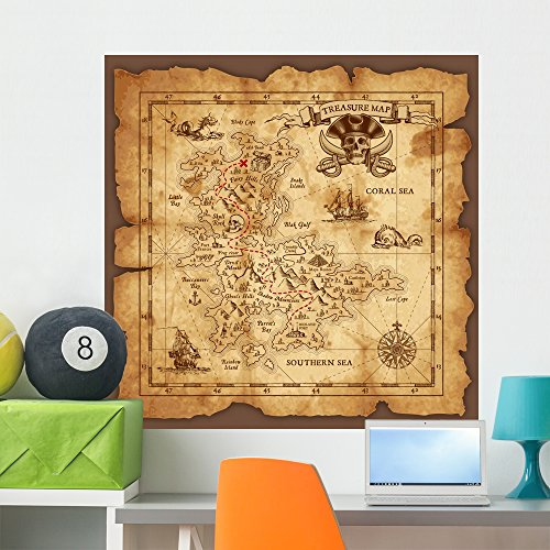 Wallmonkeys Vector Pirate Treasure Map Wall Mural Peel and Stick Decals for Boys (36 in H x 36 in W) WM373415