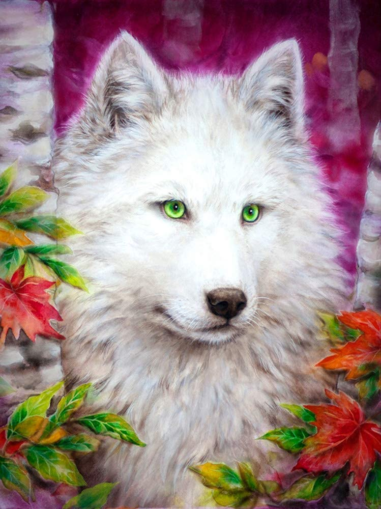Kecoci Full Diamond Embroidery 5D Diamond Painting Cross Stitch Diy Icons Home Decorations Gift Wolf With Green Eyes,40X50Cm
