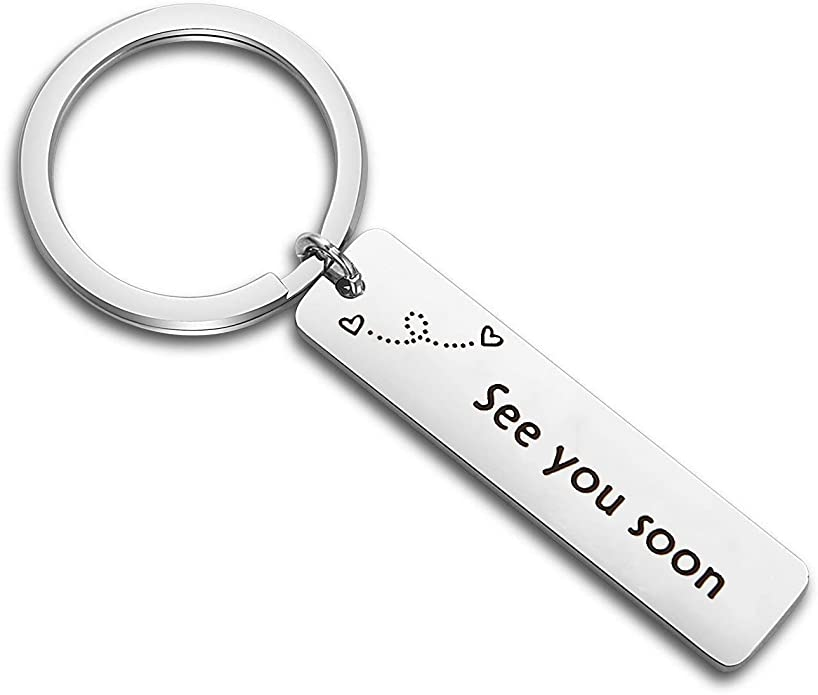TGBJE See You Soon Keychain Long Distance Relationship Gift Hand Stamped Keychain Gift for Girlfriend,Boyfriend