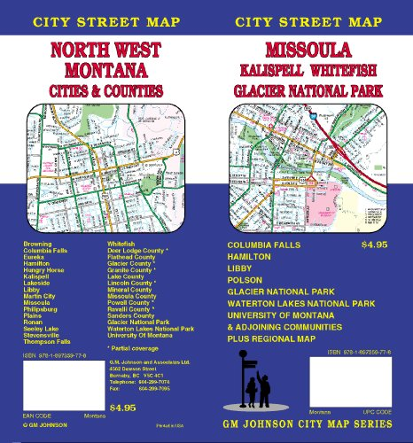 Missoula/Kalispell/Whitefish/Glacier National Park/NorthWest Montana Cities & Counties Street Map