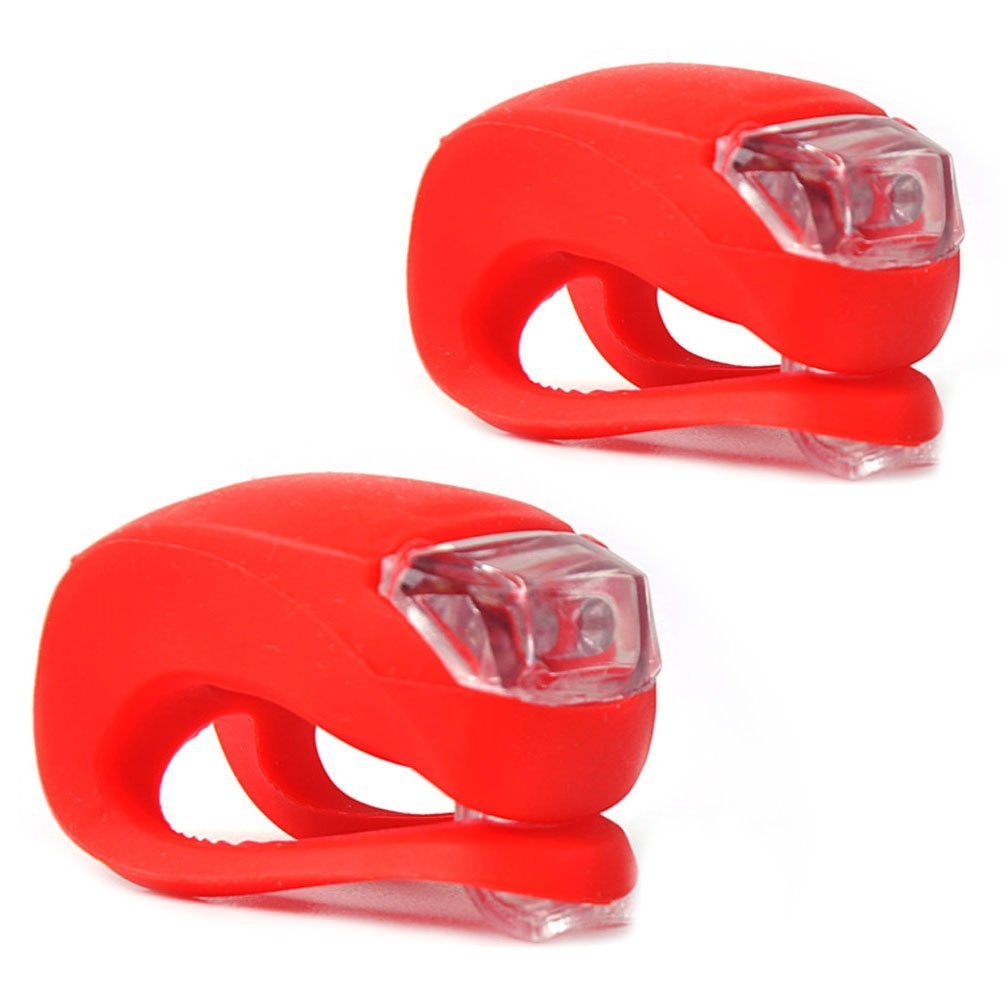 E-PRANCE New 2Pcs/Set LED Clip-On Silicon Band Bicycle Lights 3 Flashing Modes ,Red by Generic   B00GSM5W8E