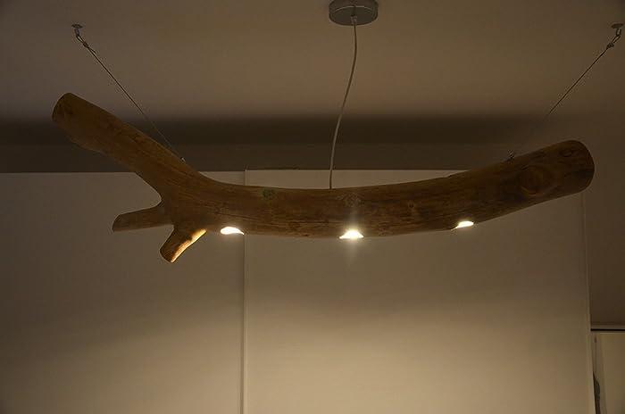 Plafoniere In Legno Rustico : Lampadario a soffitto in legno riciclato con tronco di albero