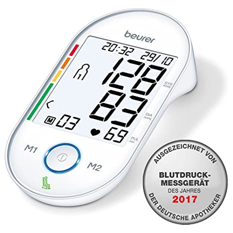 Beurer BM55 - Tensiómetro de brazo, memoria 2 x 60 mediciones, conexión a PC