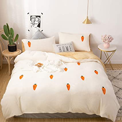 Amazon Com Duvet Covers Single Bed White Bedding Set King Size Pink Bedding Set Duvet Cover Set Winter Quilt Cover Sets Soft Warm Fleece Flannel Kids Single Twin King Double Size Teen Girls