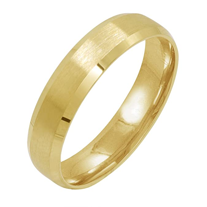 Mens 10K Yellow Gold 5mm Comfort Fit Beveled Edge Satin Finish Wedding Band (Available Ring Sizes 8-12 1/2) | Amazon.com