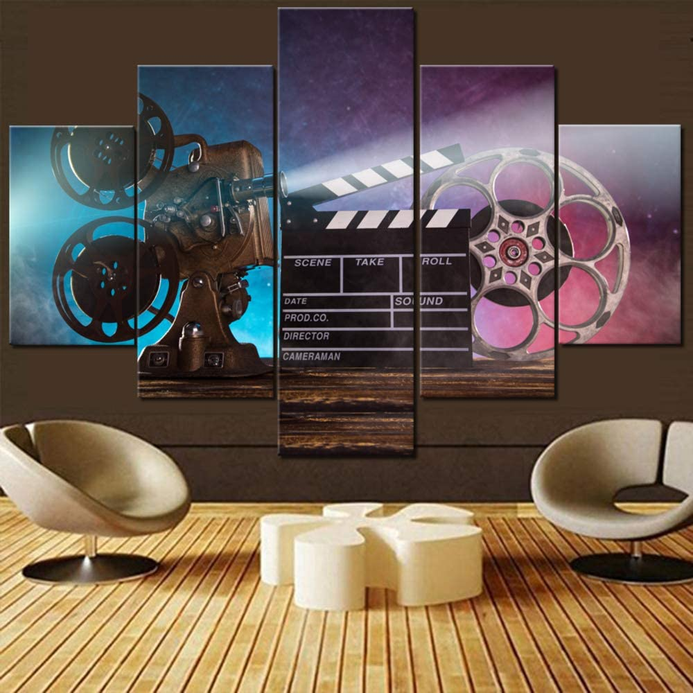 5 Piece Canvas Wall Art Vintage Film Clapper Paintings for Living Room Purple Movie Projector Picture Old Cinema Artwork Modern House Decor HD Prints Framed Gallery-Wrapped Ready to Hang(60''Wx 40''H)