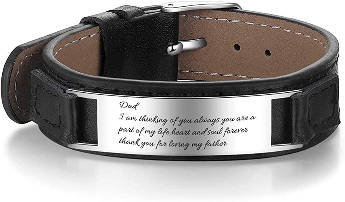 Personalized Engraving Men's Leather Wristband Stainless Steel Plate Custom ID Name Bracelets for Him Adjustable Bracelets For Father's Day Jewelry