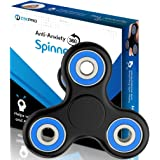 The Official Anti-Anxiety 360 Spinner with EBOOK [Titanium Alloy] Helps Focusing and Spins Over 4 Min - Fidget Toys [3D Figit] for Kids Stress Reduce ADHD Anxiety Steel Bearing (Black & Blue)