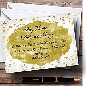 golden twinkle personalized christmas new year holiday party invitations