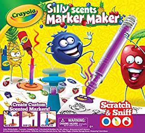 Crayola Silly Scents Marker Maker, 16 Scented Markers, Custom Scratch and Sniff Stickers, Fruit Scented