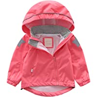 GLEAMING GRAIN Toddler Kids Waterproof Rain Jacket Little Boys Girls Hooded Raincoat Windbreaker