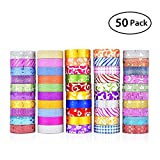 KOBWA Glitter Washi Tape, 50 Rolls Decorative Tape, Glitter Washi Masking Tape Set for Arts and Crafts, Scrapbook,DIY,Gift Wrapping,Party Supplies, Multi-purpose