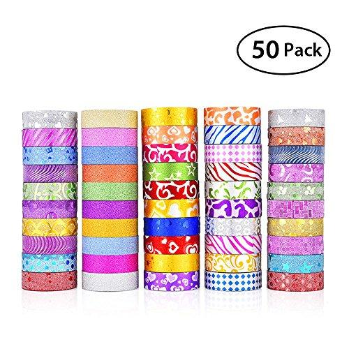 KOBWA Glitter Washi Tape, 50 Rolls Decorative Tape, Glitter Washi Masking Tape Set for Arts and Crafts, Scrapbook,DIY,Gift Wrapping,Party Supplies, Multi-purpose by KOBWA