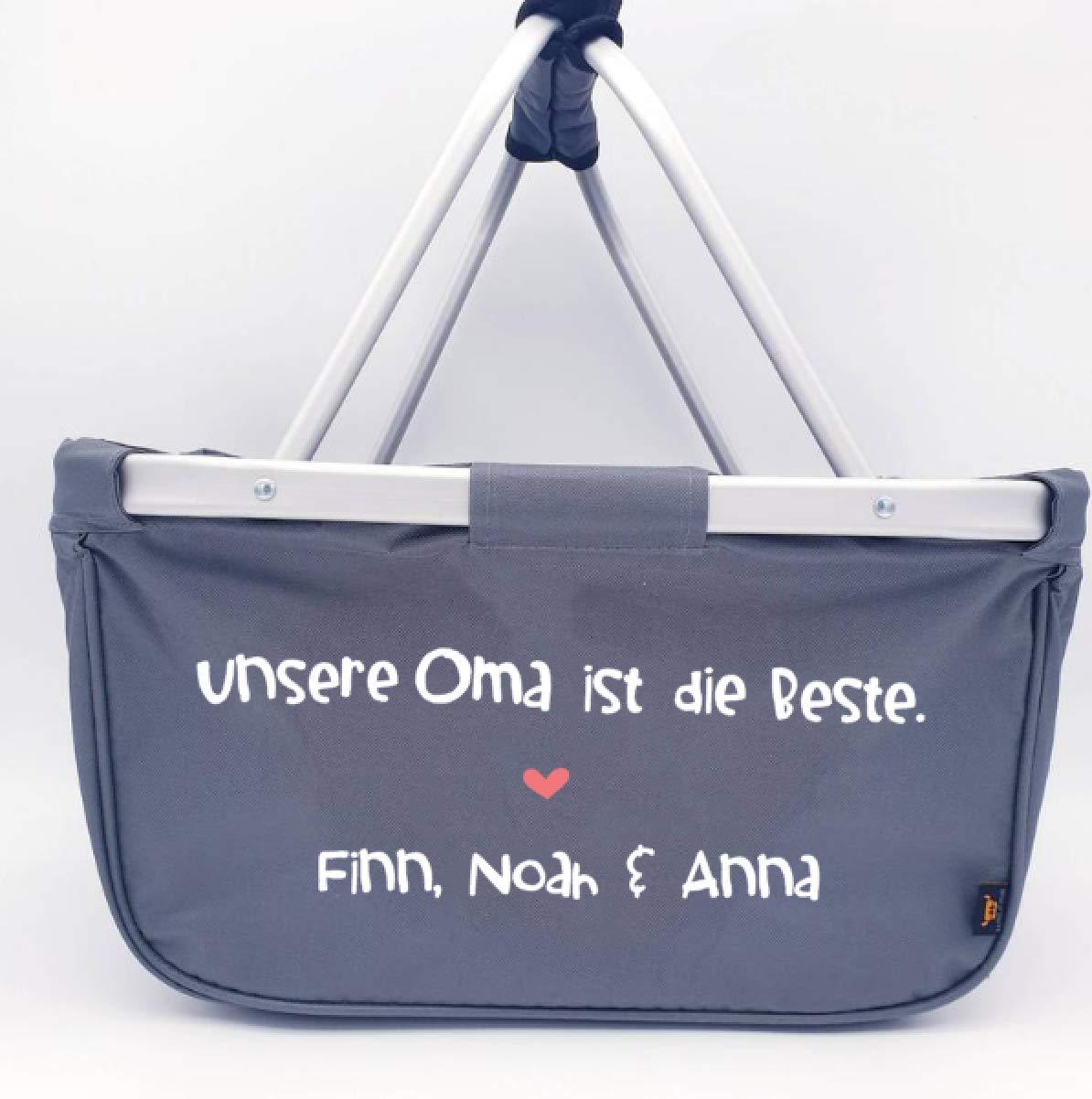 Einkaufskorb Meine Oma ist die Beste faltbar Geschenk f/ür die Oma Farbe grau auch personalisiert