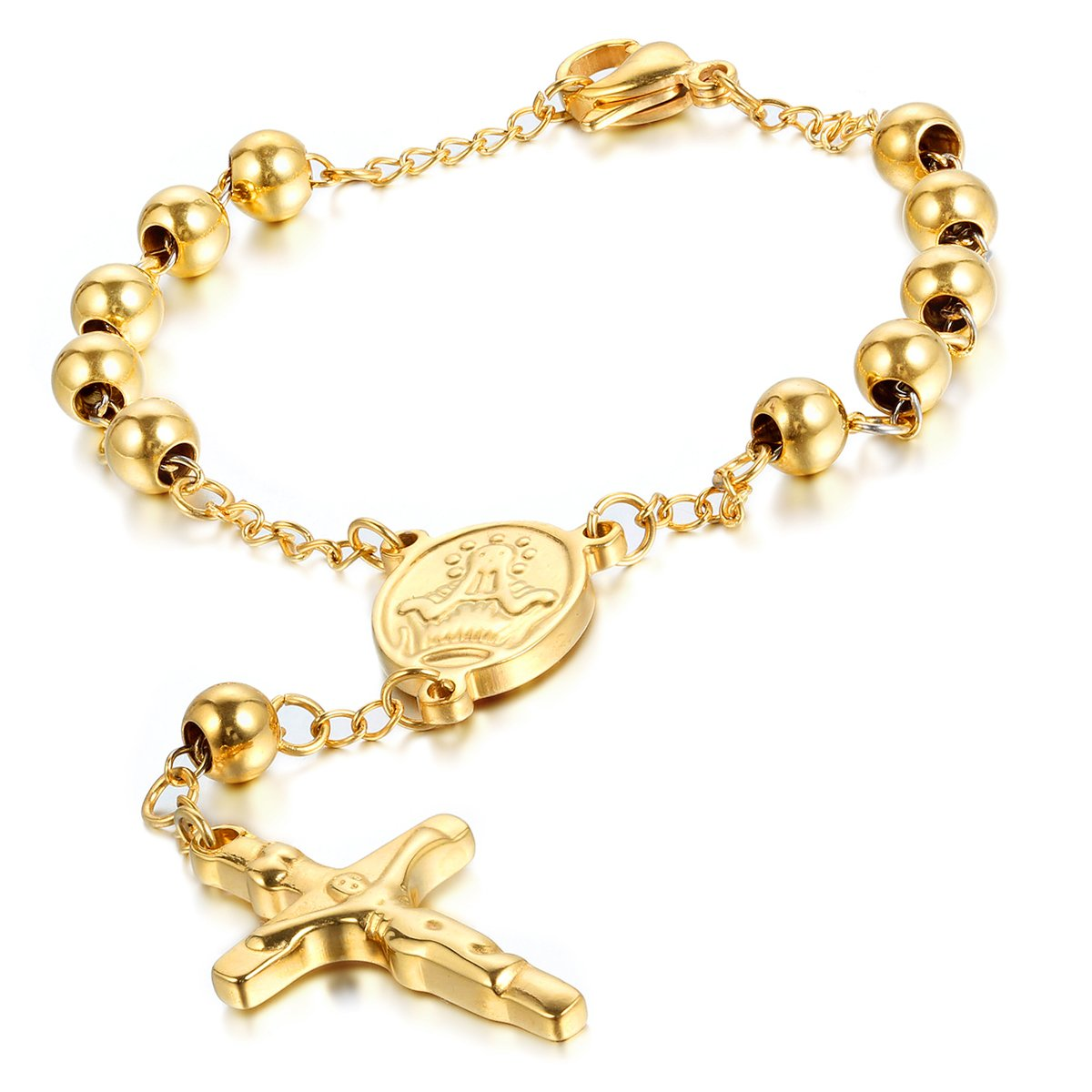 Cupimatch Religious Stainless Steel Beaded Rosary Cross Charm Bracelet for Men Women 8.6 C002069