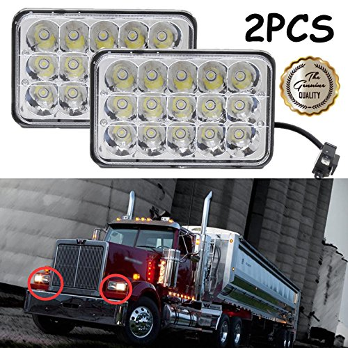 4x6 Inch for Freightliner Western Star Semi Trucks Rectangular LED Headlights Sealed Beam Hi/Lo Double Beam DRL Daytime Driving Lamp Replacement H4651 H4652 H4656 H4666 H6545 2 Pcs (Truck Semi Dimensions)