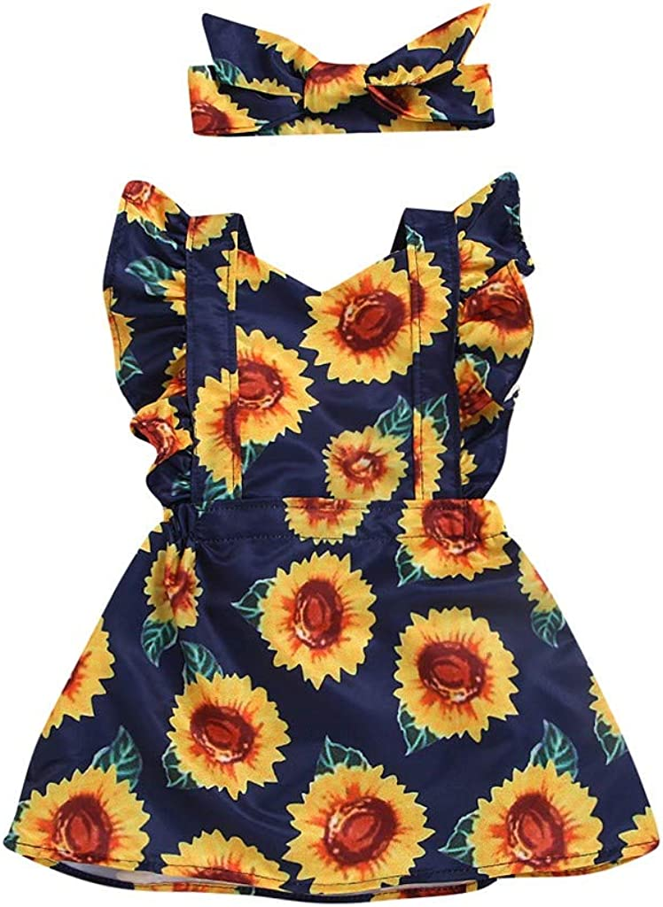 Oucan Baby Girls Sunflower Print Buttons Ruffles Dress with Headband