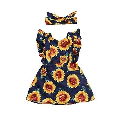 OPAKY Niñas Bebé Manga Mosca Girasol Impreso Princesa Vestido + Conjunto de Bandas de Cabeza Bowknot Floral Trajes de Vestidos de Fiesta Faldas niñas: ...
