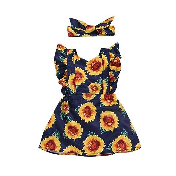 ... Girasol Impreso Princesa Vestido + Conjunto de Bandas de Cabeza Bowknot Floral Trajes de Vestidos de Fiesta Faldas niñas: Amazon.es: Ropa y accesorios
