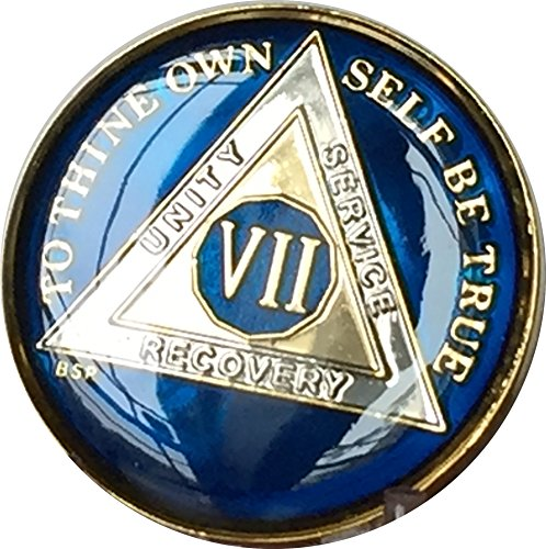 7 Year Midnight Blue AA Alcoholics Anonymous Medallion Chip Tri Plate Gold & Nickel Plated Serenity Prayer