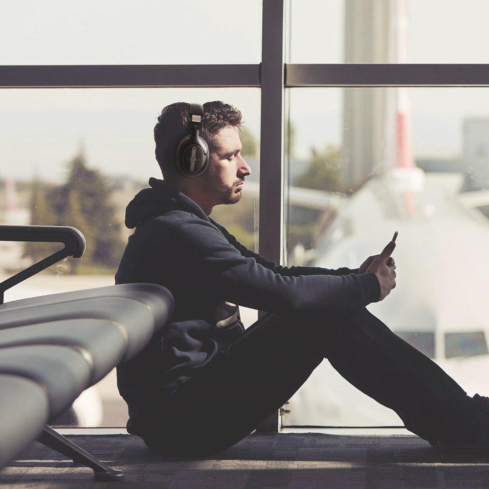 Omars Casque Bluetooth Sans Fil, Casque Audio Stéréo avec Mic Tour d\'oreille Pliable Ecouteur Anti-Bruit Universel pour Téléphone Portable MP3 MP4 Players PC ou Tablette