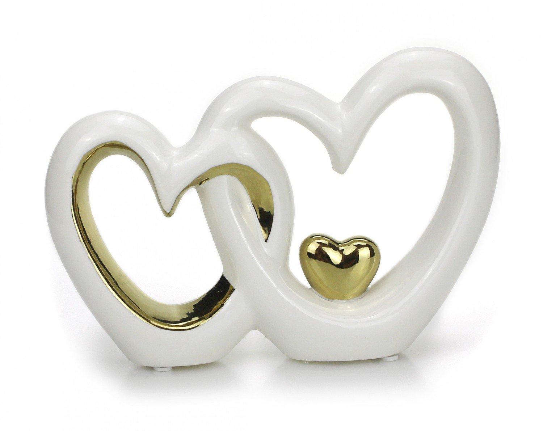 Tempelwelt Statuetta Cuore Doppio Cuore Coppia 23x 33cm grande in ceramica laccato bianco argento cromato, Statua di cuore amore regalo matrimonio nozze d' argento