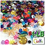The Crafts Outlet 1-LB Run-Of-the-House Surprise Mix lots Beads and Rhinestones, Mixed Size, Shapes, Colors