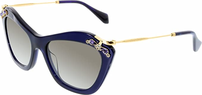 9a9245f471d Image Unavailable. Image not available for. Color  Miu Miu MU03PS-0AX0A7-53  Blue Gold Cats Eyes Gray 53 mm Lens Sunglasses