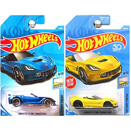- Hot Wheels 2018 Factory Fresh Chevrolet Chevy Corvette C7 Z06 Convertible Blue and Yellow SET OF 2