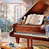 BoutiQ Diamond Painting Retro Piano 40x40cm - Full Drill Rounnd Beads 5D DIY Paint by Number Kits for Adults Homemade Rhinestone Embroidery Pictures Arts Craft Home Wall Decor Interior Decoration