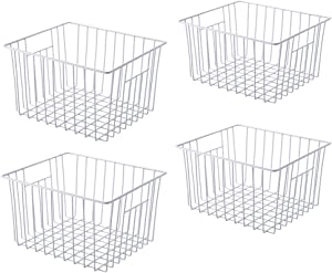 WenZBros Freezer Wire Basket Organizer, Refrigerator Metal Storage Divider, Household Container Bins with Handles for Kitchen, Pantry, Cabinet, Office, Closets - Set of 4