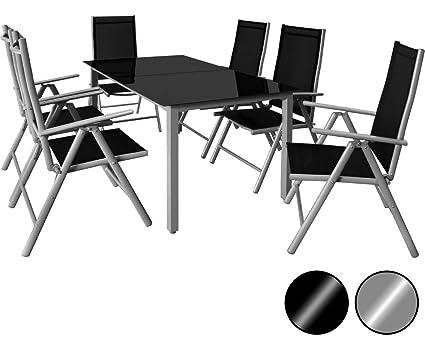 Deuba - Salon de Jardin 6+1 - Bern - 1 Table, 6 chaises - Aluminium avec  Table en Verre - dossiers Hauts inclinables - Ensemble de Jardin, Gris