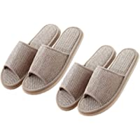 EXCEART 2 Pairs Womens Indoor House Slippers Summer Linen Home Shoes Open Toe Slip on Cotton House Slippers Hotel…