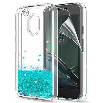 LeYi Funda Motorola Moto G4 Play Silicona Purpurina Carcasa con HD Protectores de Pantalla,Transparente Cristal Bumper Telefono Gel TPU Fundas Case ...