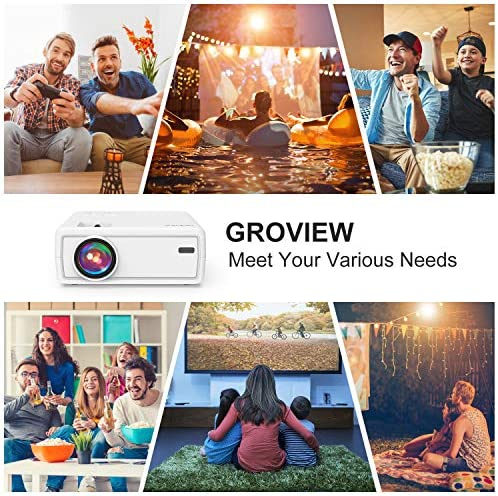 "Mini Projector, GROVIEW Outdoor Movie Projector with 100"" Projector Screen, 1080P HD Supported Portable Projector, Compatible with Fire Stick,HDMI,VGA,USB,TVBox,Laptop,DVD"