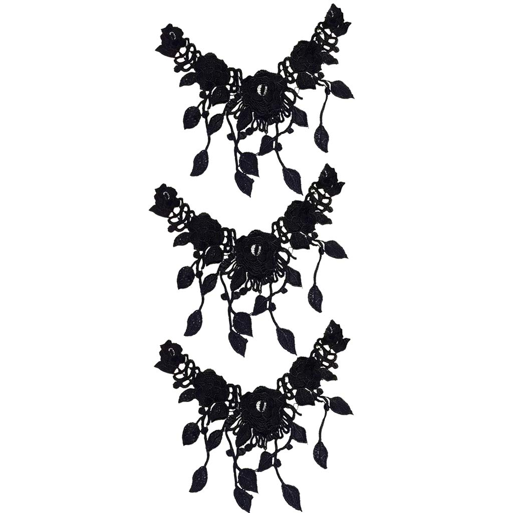 Black 2Pcs Prettyia Embroidery Flower Neck Lace Fabric Collar Tassel Applique DIY Handmade Lace Fabrics for Sewing Supplies Crafts