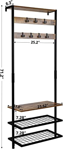 Leopard Hall Tree, Entryway Coat Rack, Against the Wall Narrow Hall Trees with Shoe Racks, Storage Shelf Organizer, Accent Furniture with Metal Frame, Rustic Brown