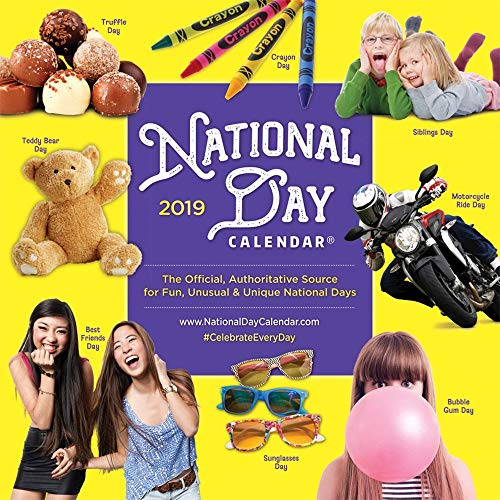 - National Day 2019 12 x 12 Inch Monthly Square Wall Calendar, Holidays Everyday