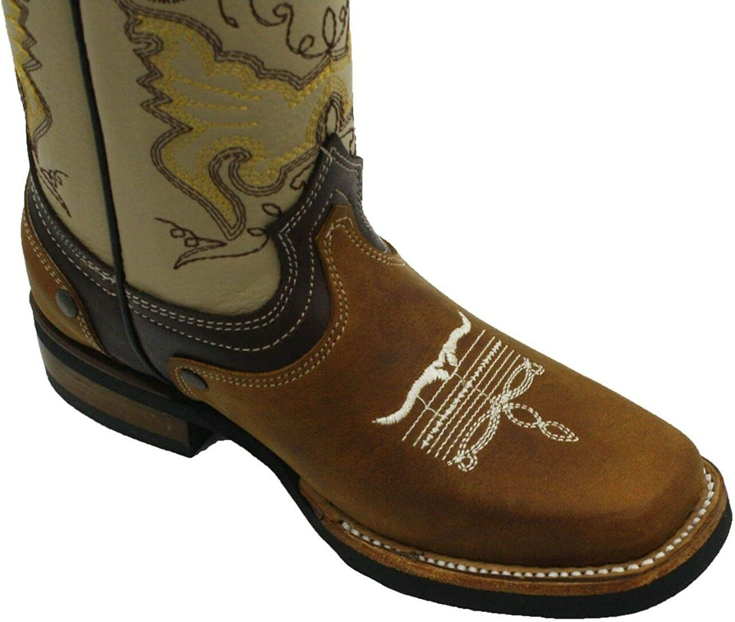 Kids Genuine Cowhide Cowboy Square Toe Western Leather Sole Tan Boots
