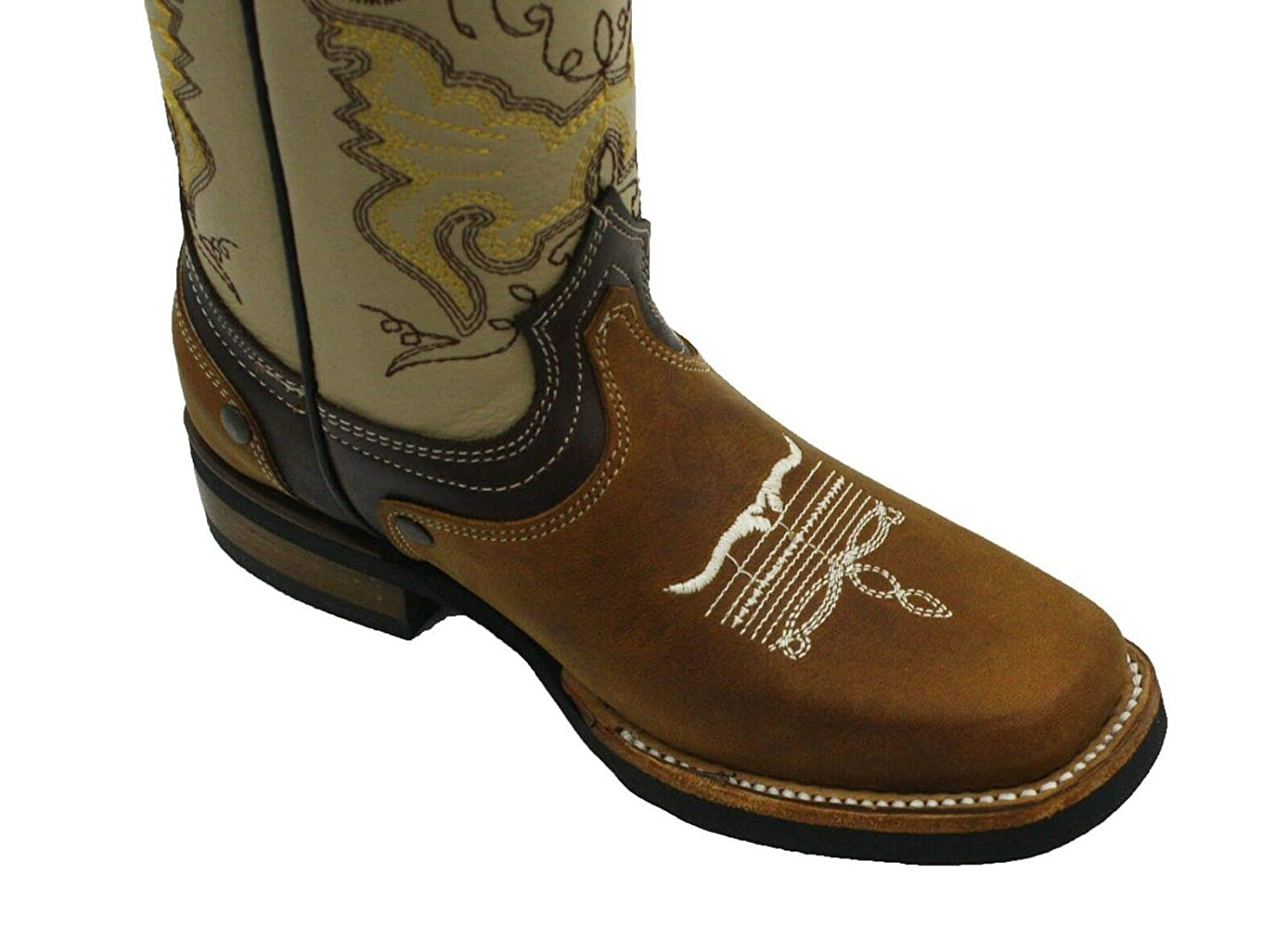 Kids Unisex Genuine Cowhide Leather Durable Tough Rodeo Western Cowboy Boots