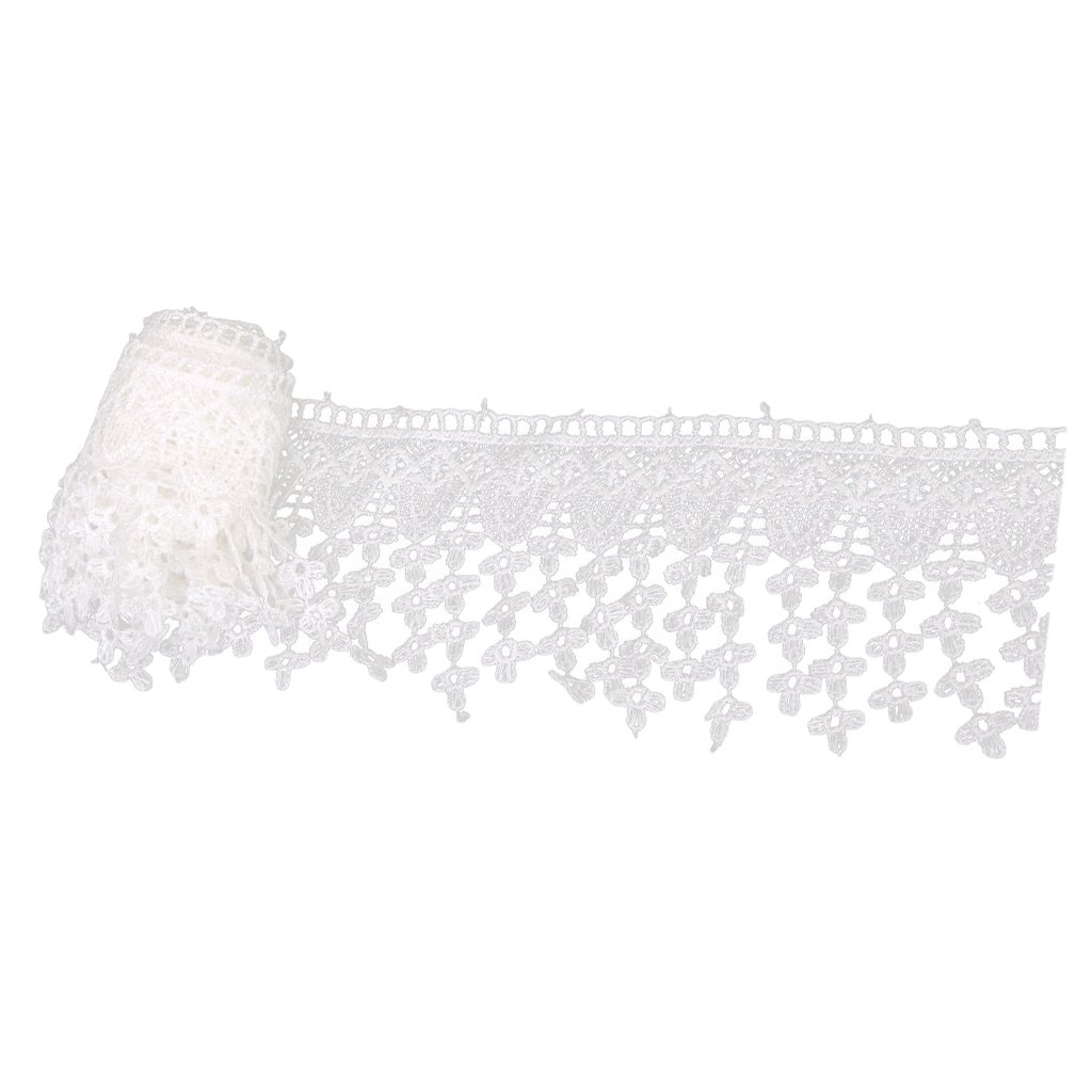 Embroidered Tassle Fringe Trim Sewing Crafts 3 Yards White